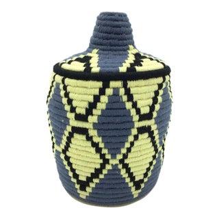 Blue & Pale Yellow Basket