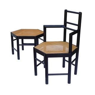 Josef Hoffmann Style Hexagonal Chair & Ottoman Set