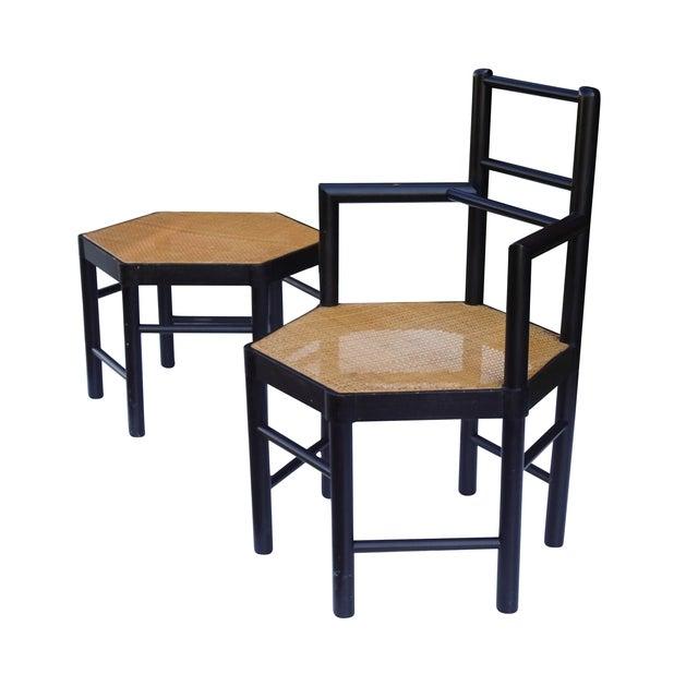 Josef Hoffmann Style Hexagonal Chair & Ottoman Set - Image 1 of 10