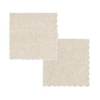 Scallop Embroidered Dinner Napkins - Set of 2 For Sale