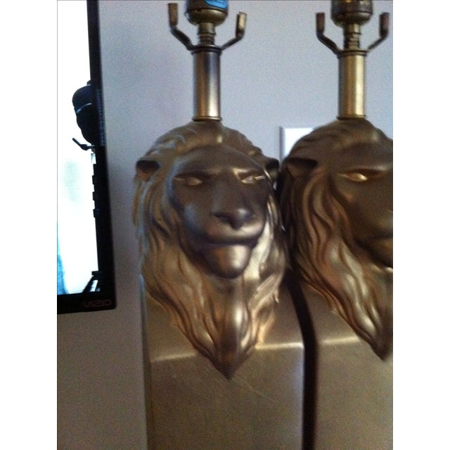 Vintage Custom Pottery Lion Lamps - Pair - Image 3 of 8