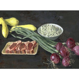 Original Still Life Oil Painting: Lamb, Spring Onions and Fresh Beans For Sale