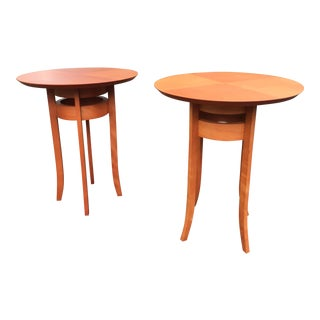 Spanish Contemporary Cherry Side Tables - a Pair For Sale