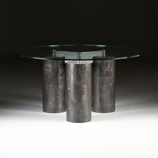 """""""Serenissimo"""" Patinated Steel Dining Table by Massimo and Lella Vignelli For Sale - Image 5 of 5"""