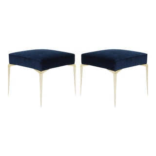 Colette Petite Brass Ottomans in Navy Velvet by Montage, Pair For Sale