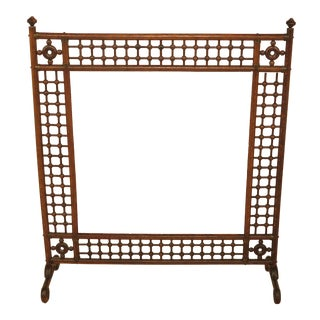 Antique Victorian Stick & Ball Oak Firescreen Frame