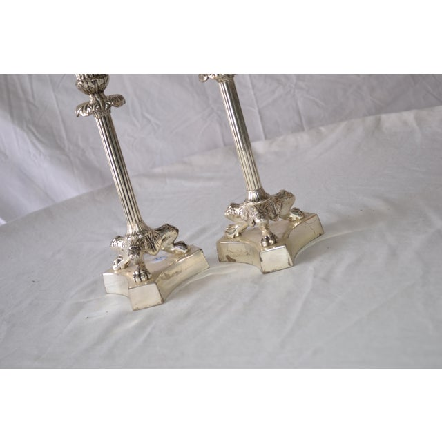 1980s 1980s American Classical Silver Fluted Candlesticks With Claw Feet - a Pair For Sale - Image 5 of 6