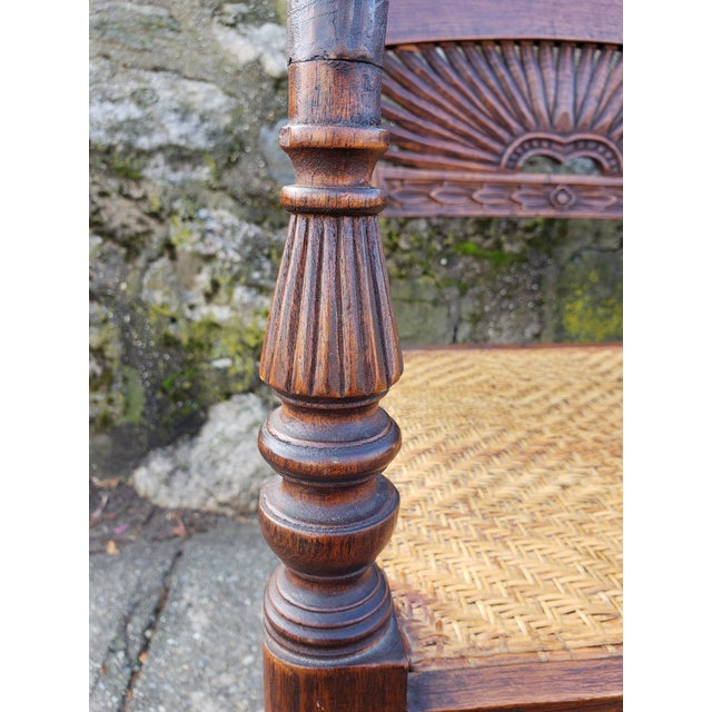 Antique Carved Wood & Caned Settee For Sale - Image 9 of 13