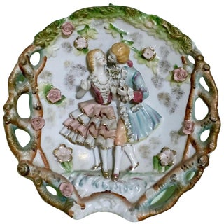 1930s Vintage Bone China Lace Victorian Couple Wall Plate For Sale