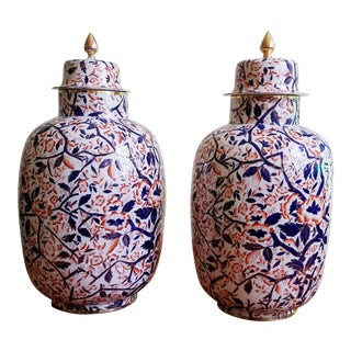 English Pottery Imari Vases & Covers, Circa 1860-80 - A Pair