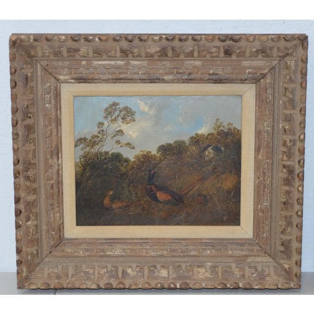 Pair of Early 20th C. Pheasant Hunt Oil Paintings Wonderful pair of oil on panel paintings of a Pheasant Hunt. We love the...