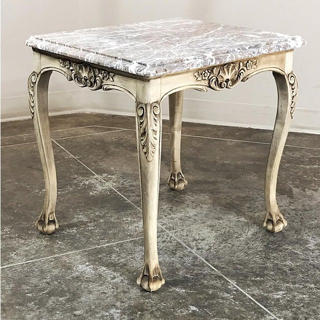 Early 20th Century Antique Regence Marble Top Stripped Walnut Occasional Table For Sale - Image 5 of 10