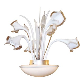 Murano Chandelier With White Hand Blown Glass Lily Flowers For Sale