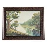 Image of 1950s Vintage Framed English Landscape Oil Painting For Sale