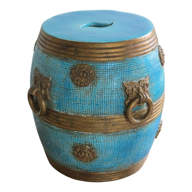 1950s Vintage Ugo Zaccagnini Ceramic Pottery Chinoiserie Garden Stool For Sale