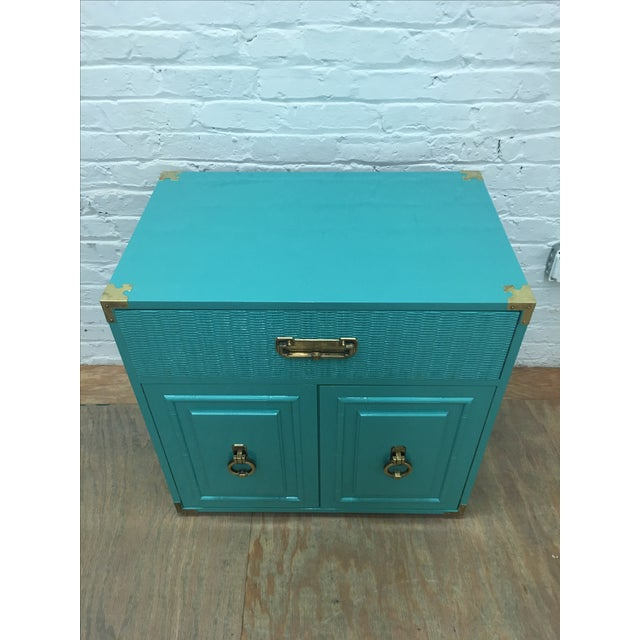 Dixie Lacquered Turquoise Faux Bamboo Credenza - Image 3 of 11