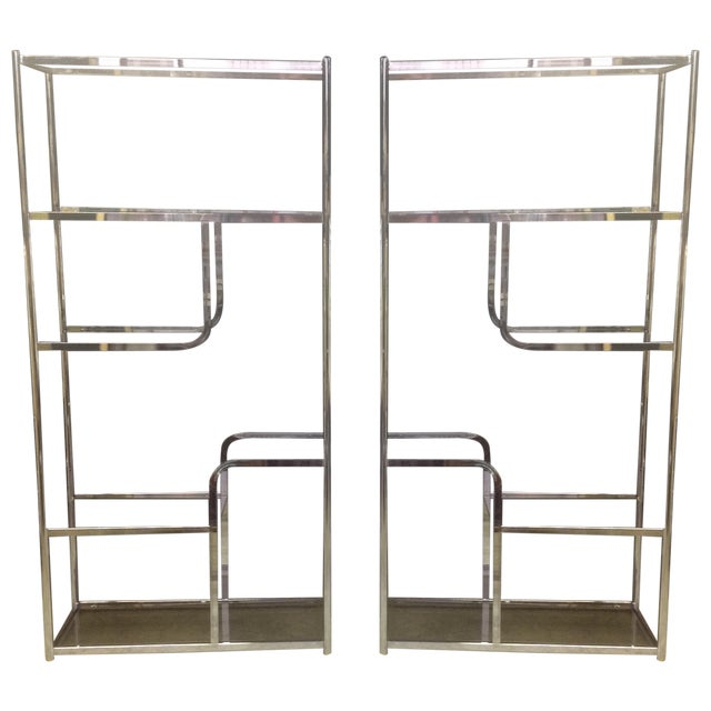 Chrome And Smoked Glass Etagere - Pair - Image 1 of 7