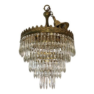 Vintage Fench Crystal 5 Tier Waterfall Chandelier