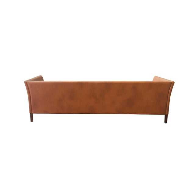 Børge Mogensen Danish Mid-Century Modern Leather Sofa by Mogens Hansen For Sale - Image 4 of 11