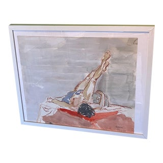 Watercolor Nude Painting - Framed For Sale