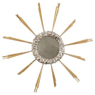 Mid-19th Century Vintage Italian Gilded Sunburst Mirror For Sale