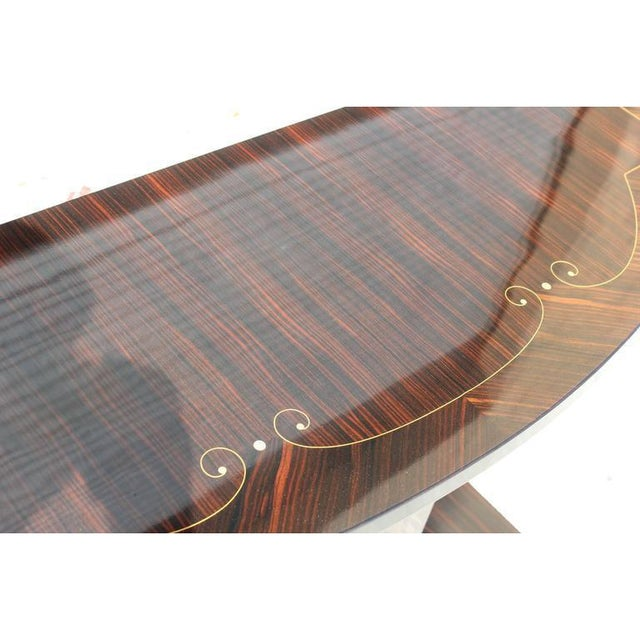 1940s Vintage Art Deco Macassar French Ebony Console Table For Sale - Image 10 of 12