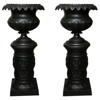 Late 19th Century Victorian Cast Iron Urns on Pedestals - a Pair For Sale