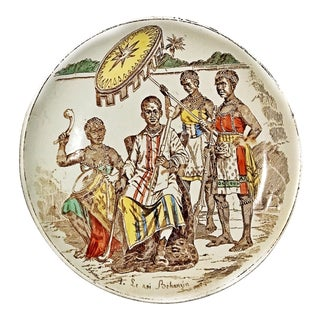 Antique Porcelain Plate, Commemorating African Warrior King Behazin of Benin & Dahomey