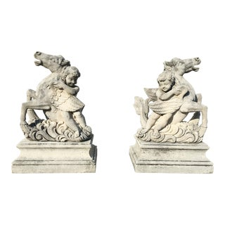 Pair of Putti Garden Statues With Horses For Sale