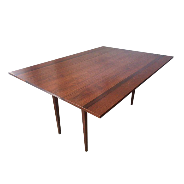 Hibriten Walnut, Mahogany, Rosewood Drop Leaf Dining Table Or Console, C.  1960s