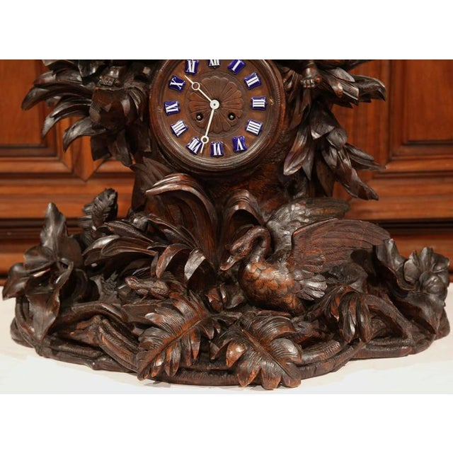 19th Century Swiss Carved Walnut Black Forest Mantel Clock For Sale - Image 4 of 10