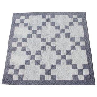 Antique Crib Quilt, Five Patch Pattern For Sale