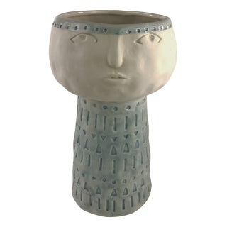 Modern Boho Chic Face Pottery Vase For Sale