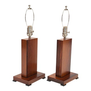 Contemporary Rosewood Lamps - A Pair For Sale