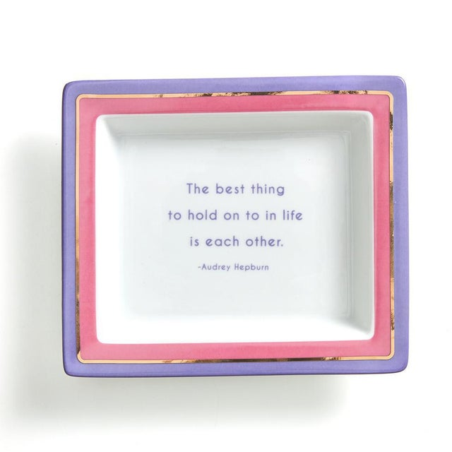 2020s Audrey Hepburn Quote Ceramic Catchall Tray For Sale - Image 5 of 5