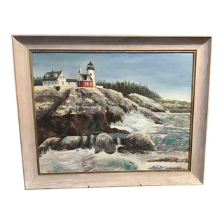 """1980s """"Lighthouse"""" American Seascape Oil Painting by Phil Kern, Framed For Sale"""