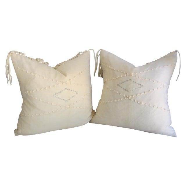 White Southwestern Blanket Fringe Pillows - A Pair - Image 1 of 7