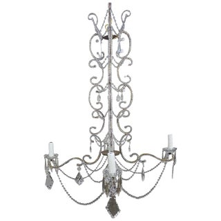 Five-Light Crystal Beaded French Chandelier, Circa 1940s For Sale