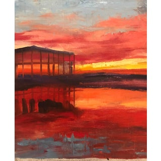1980s Fiery Sunset Landscape Oil Painting For Sale