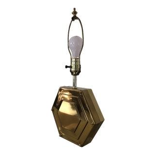 1970's Hollywood Regency Brass Hexagon Lamp For Sale