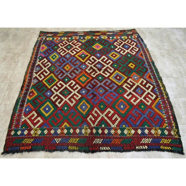 """Islamic Vintage Braided Rug. Flat Weave Area Rug - 5' 1"""" X 5' 8"""" For Sale - Image 3 of 9"""