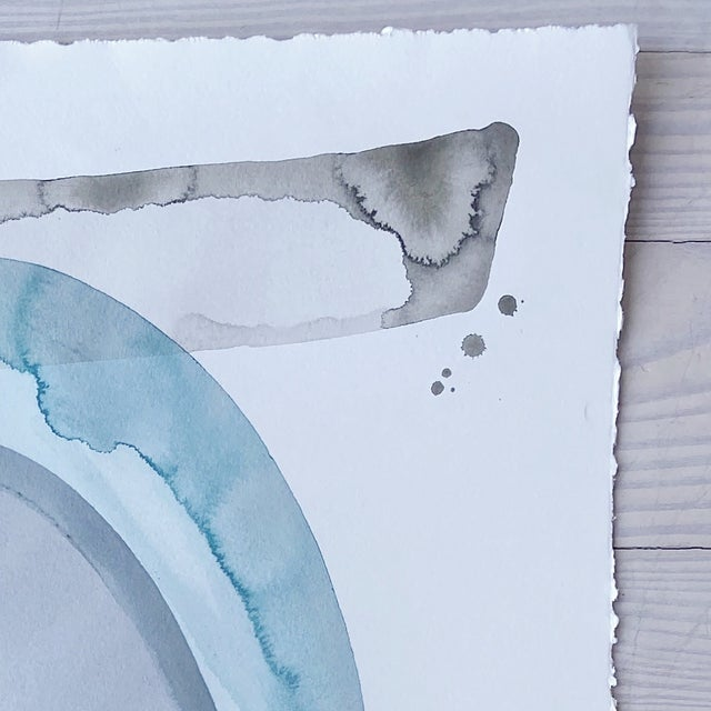 22 x 33 on paper This painting is a simple monochromatic piece. She uses water-based paints to create her loose abstracts.