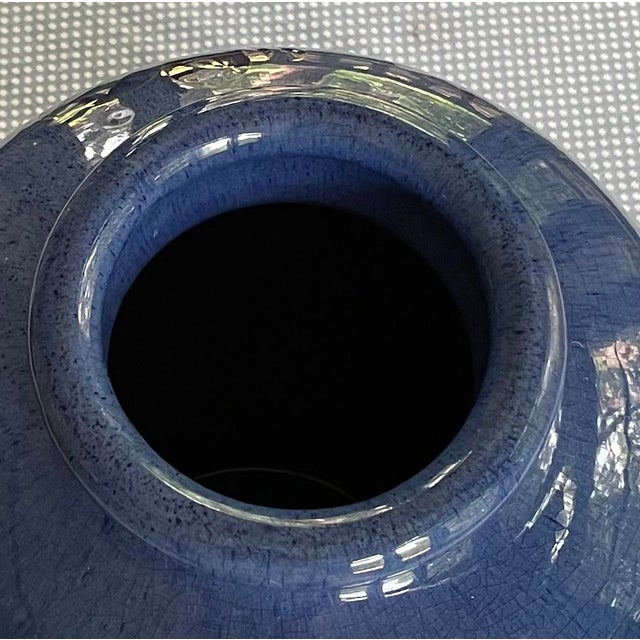 Blue 1928 Moorcroft Cornflower Blue Art Deco Signed and Dated Large Table Vase For Sale - Image 8 of 13