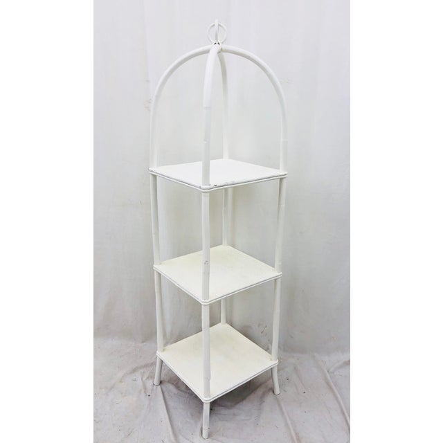 Vintage Woven Wicker & Bent Rattan Etagere Shelf For Sale - Image 11 of 11