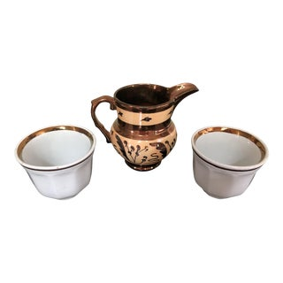 1950s Cream Colored Copper Luster Pitcher With Gold Rimmed Cups - Set of 3 For Sale