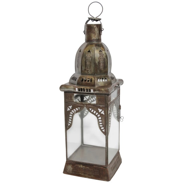 Moroccan Moorish Square Metal and Clear Glass Candle Lantern For Sale - Image 13 of 13