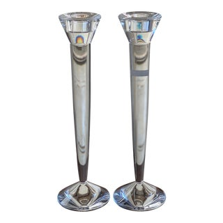 1950s Flambeau Baccarat Crystal Candlesticks - a Pair For Sale