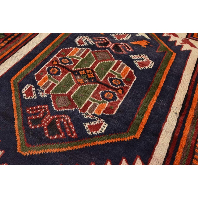 Red Vintage Persian Luri Rug- 4′1″ × 7′5″ For Sale - Image 8 of 13
