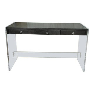 Striking 3-Drawer Faux Snakeskin Console With Lucite Sides and Base For Sale