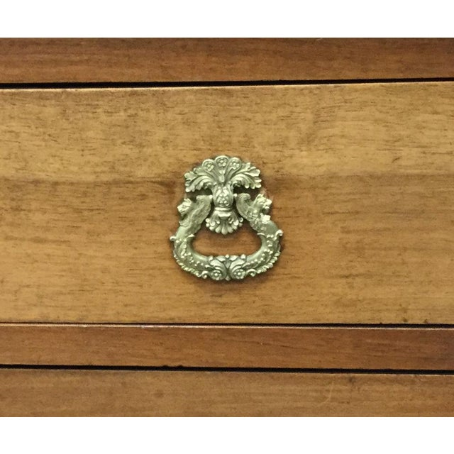 Beautifully figured walnut 19th Century French 4 drawer chest. Solid wood top. Wonderful original gilt brass handles and...